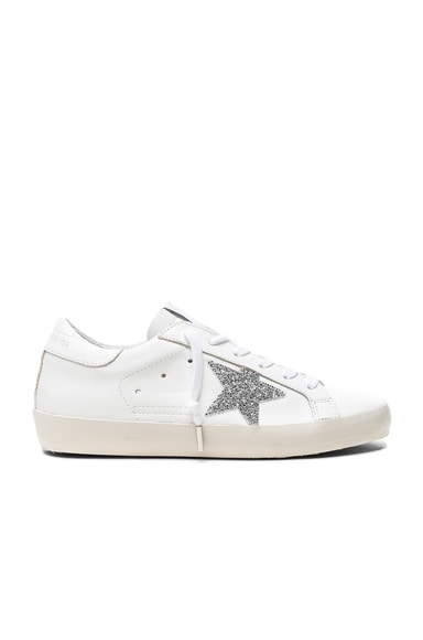 Golden Goose Swarovski Crystal Embellished Superstar Low Sneakers in White