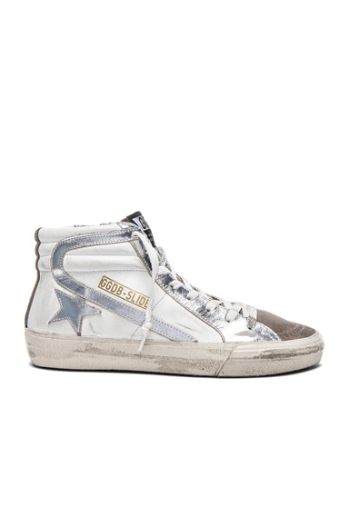 Golden Goose Leather Slide Sneakers in Gold & White