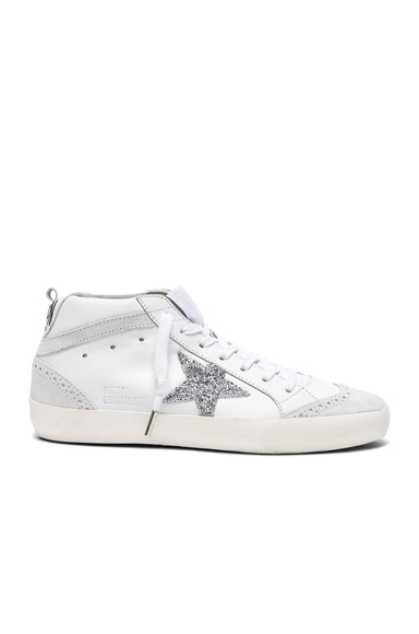 Golden Goose Swarovski Crystal Embellished Mid Star Sneakers in White & Crystals