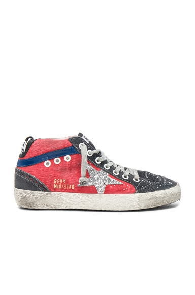 Golden Goose Canvas Mid Star Sneakers in Red & Glitter