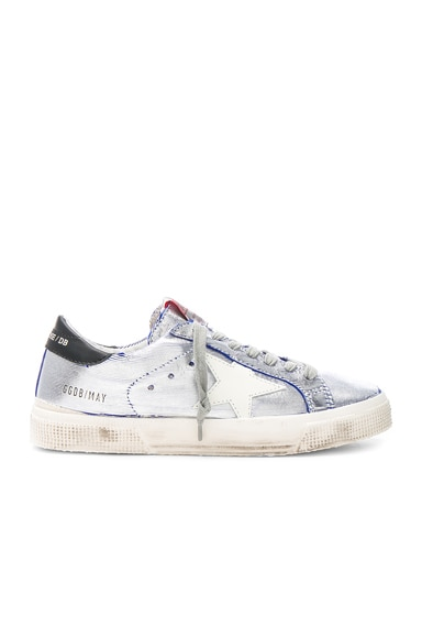 Golden Goose Ribbed Metallic May Sneakers in Bluette Silver