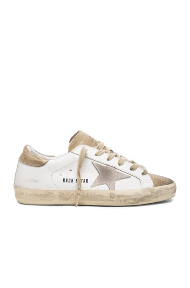 Golden Goose Leather Superstar Low in Gold & White