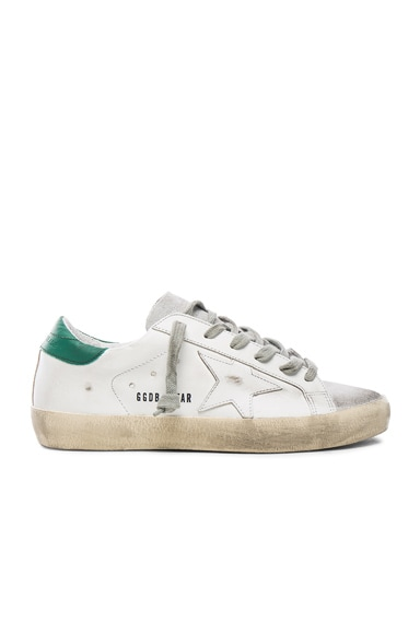 Golden Goose Leather Superstar Low in White, Green & Silver