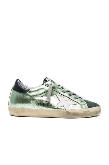 Golden Goose Leather Superstar Low in Green Lame