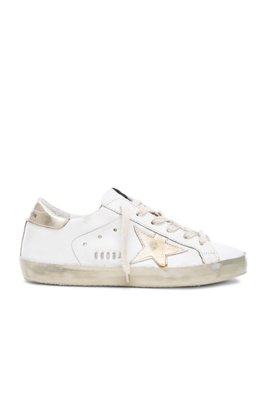 Golden Goose Leather Superstar Low Sneakers in Sparkle White & Gold Star