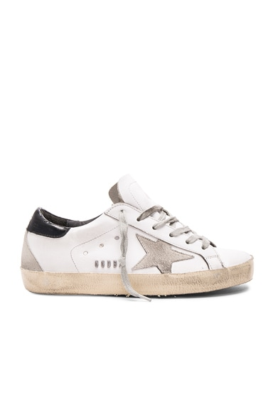 Golden Goose Leather Superstar Low Sneakers in White & Black