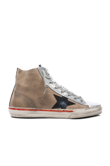 Golden Goose Suede Francy Sneakers in Skin Silver