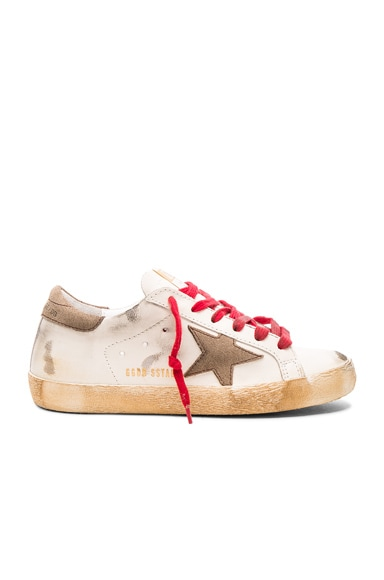 Golden Goose Leather Superstar Low Sneakers in Red & White