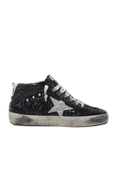 Golden Goose Glitter Mid Star Sneakers in Black Glitter
