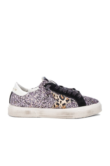 Golden Goose May Sneakers in Black & Lilac Glitter