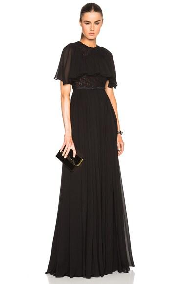 Giambattista Valli Georgette Short Sleeve Dress in Black