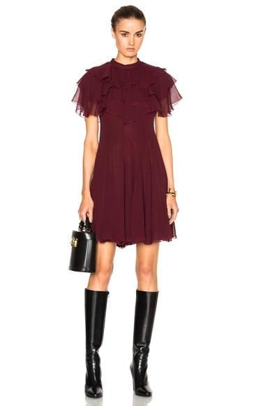 Giambattista Valli Ruffle Mini Dress in Bordeaux