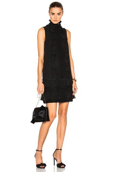 Giambattista Valli Sleeveless Ruffle Georgette Dress in Black