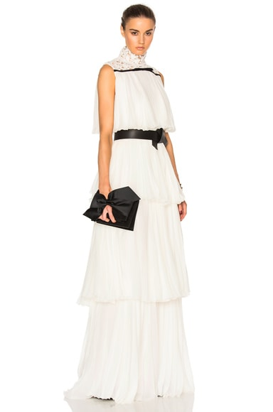 Pleated Georgette Tiered Gown