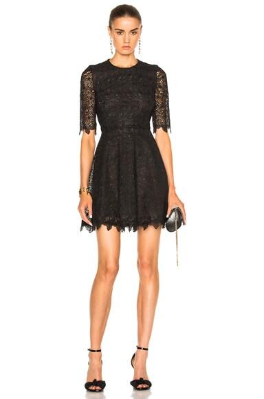 Giambattista Valli Floral Lace Mini Dress in Black