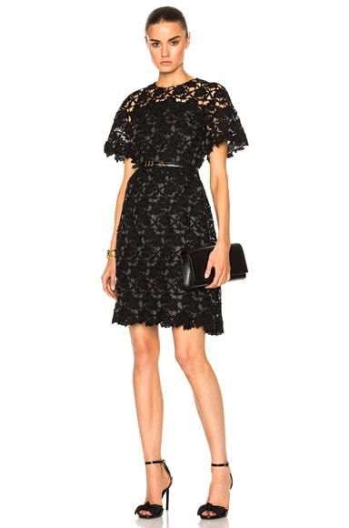 Giambattista Valli Macrame Fit & Flare Dress in Black