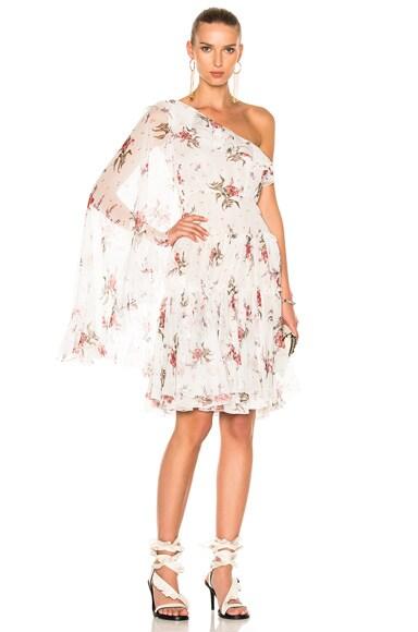 Giambattista Valli One Shoulder Mini Dress in Ivory Floral