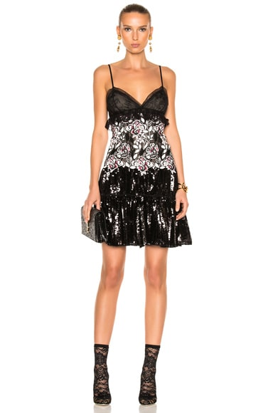 Giambattista Valli Sequin Mini Dress in Black