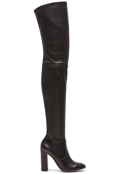 Gianvito Rossi Leather Thigh High Boots in Black