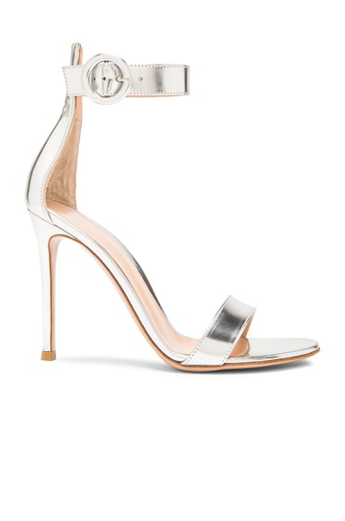 Gianvito Rossi Metallic Leather Portofino Heels in Silver