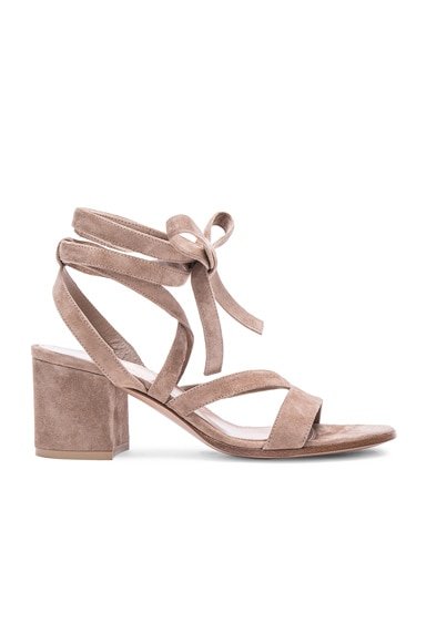 Gianvito Rossi Suede Janis Low Sandals in Bisque