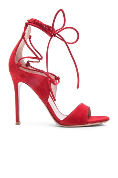 Gianvito Rossi Suede Lace Up Heels in Tabasco Red