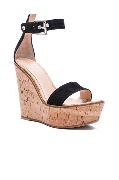 Suede Cork Wedge Sandals