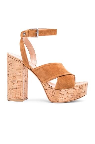 Gianvito Rossi Suede Suzie Platform Sandals in Luggage & Cork