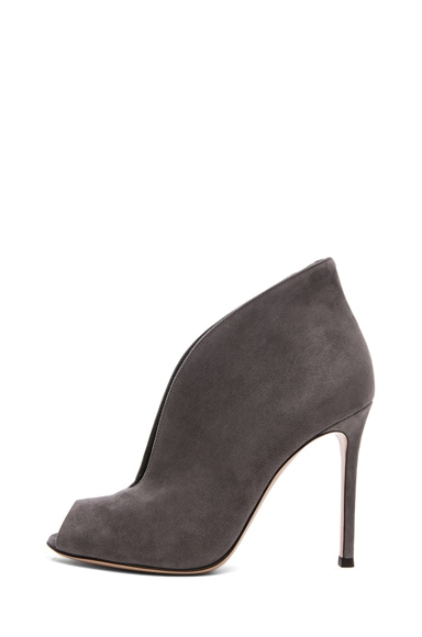 Suede Open Toe Booties