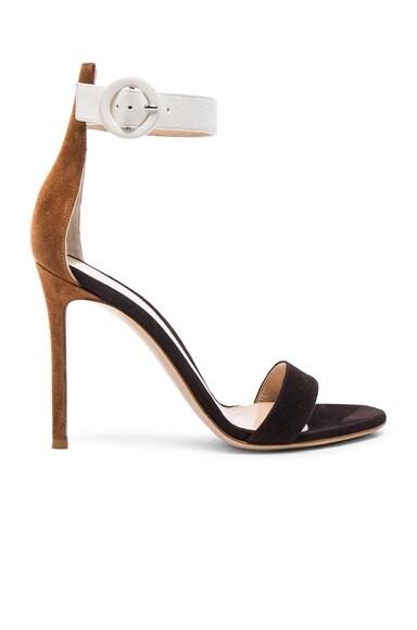 Gianvito Rossi Tri Color Suede Portofino Heels in Luggage, Monka & Off White