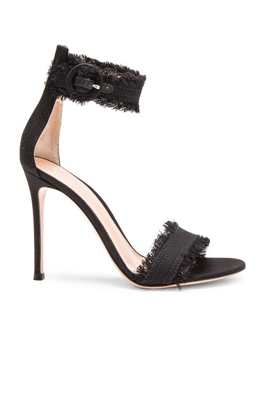 Gianvito Rossi Denim Lola Heels in Dark Black