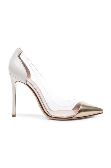Gianvito Rossi Leather Plexi Pumps in Mekong & Off White