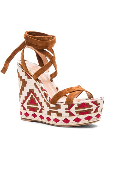 Printed Suede Wedges