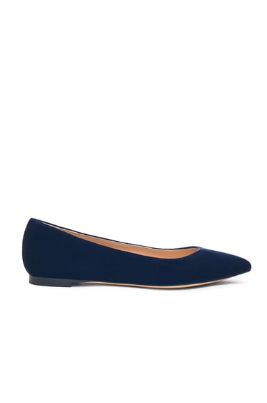Gianvito Rossi Velvet Flats in Denim