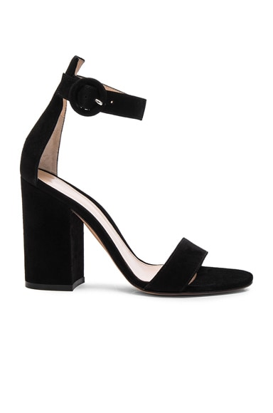 Gianvito Rossi Suede Block Heels in Black