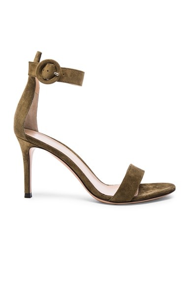 Gianvito Rossi Suede Ankle Strap Heels in Marais