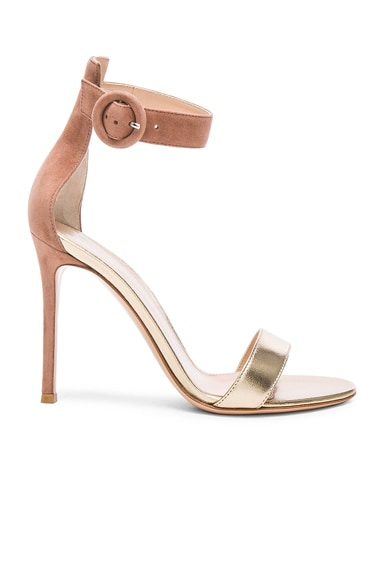 Gianvito Rossi Leather & Suede Portofino Heels in Mekong & Praline