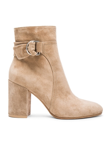 Gianvito Rossi Suede Belted Ankle Boots in Bisque