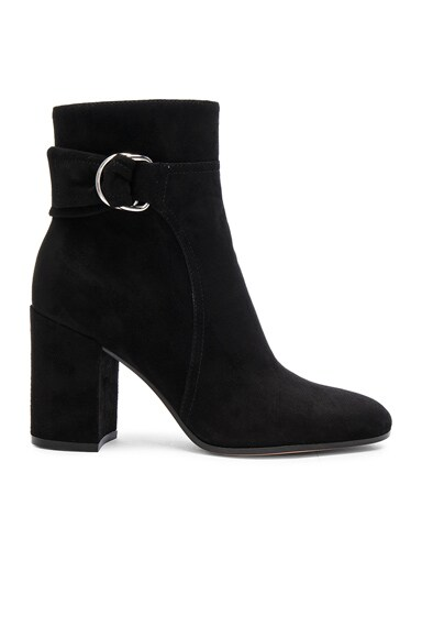 Gianvito Rossi Suede Belted Ankle Boots in Black