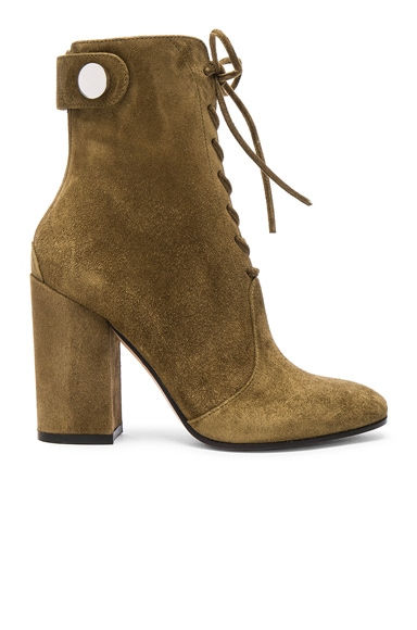 Gianvito Rossi Suede Lace Up Boots in Marais