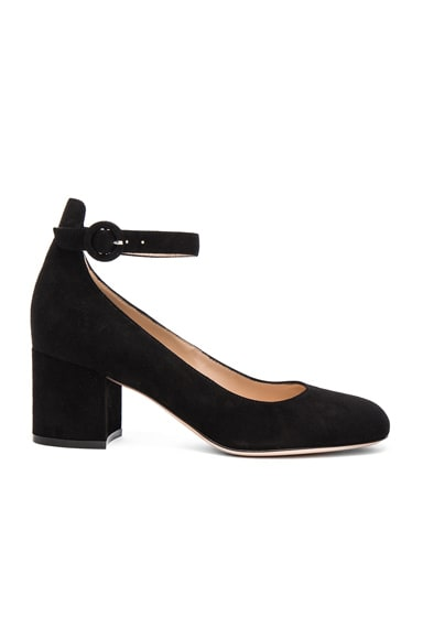 Gianvito Rossi Suede Ankle Strap Flats in Black