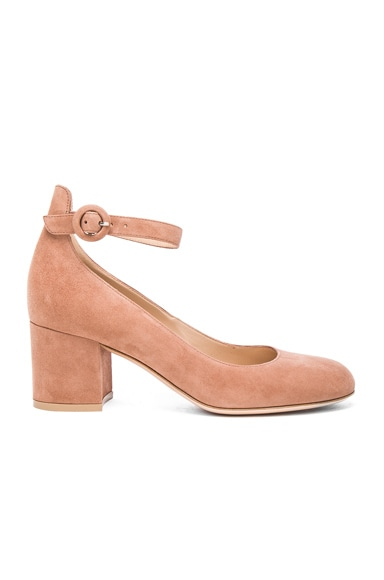 Gianvito Rossi Suede Ankle Strap Flats in Praline