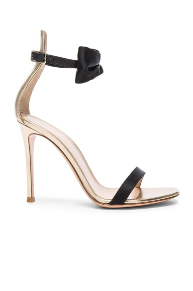 Gianvito Rossi Satin & Leather Bow Portofino Heels in Black & Mekong