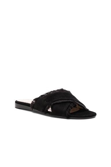 Suede & Satin Flat Sandals