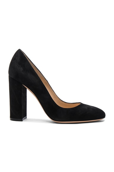 Gianvito Rossi Suede Chunky Heels in Black