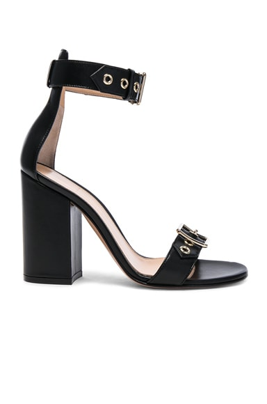 Leather Buckle Detail Heels