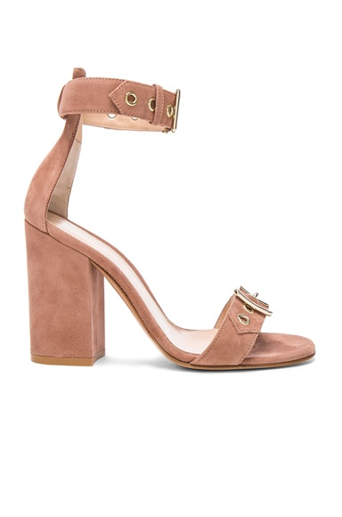 Gianvito Rossi Suede Buckle Detail Heels in Praline