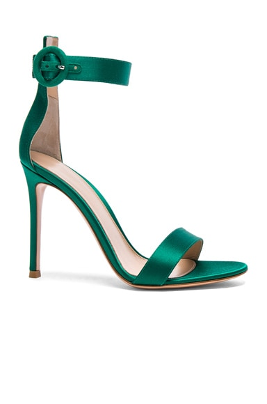 Gianvito Rossi Satin Portofino Heels in Emerald