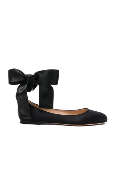 Gianvito Rossi Satin Ankle Tie Flats in Black