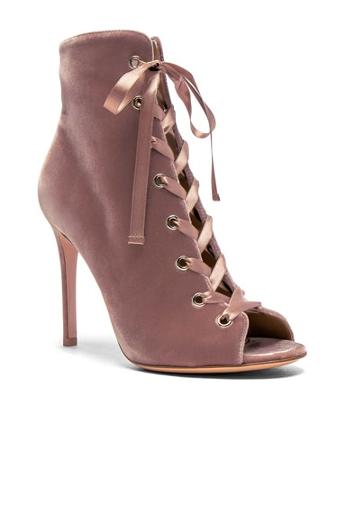 for FWRD Velvet Marie Lace Up Booties
